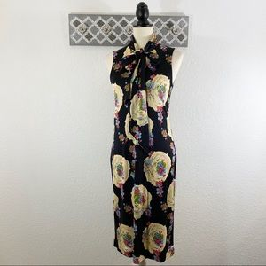 Tory Burch Silk Dress Black Floral Tie Neck, S